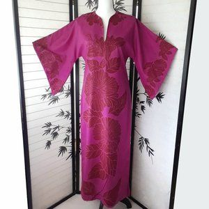 Vintage Fuchsia Hawaiian/Polynesian Maxi Dress